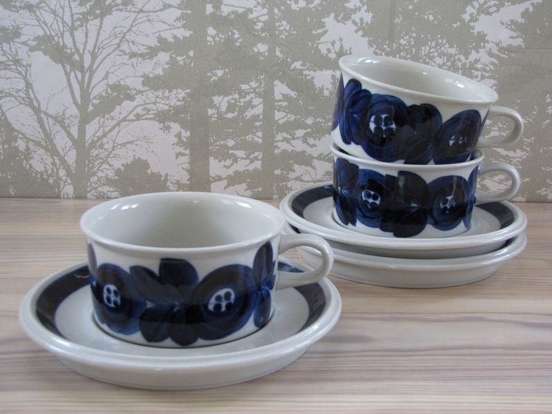 Arabia Anemone Tea Cup And Saucer Ulla Procope