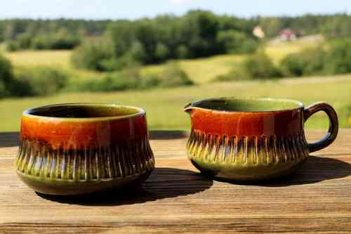 OLIVE sugar bowl and creamer, Berit Ternell