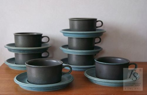 Arabia bluish green RUSKA teacup and saucer & Arabia bluish green RUSKA teacup and saucer - FourSeasons.fi