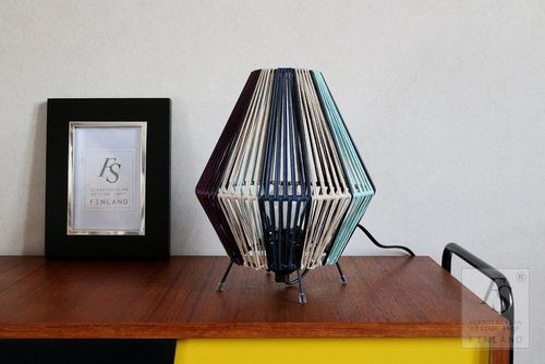 Vintage string shade table lamp