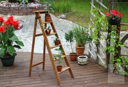 Vintage folding ladder, 5 steps