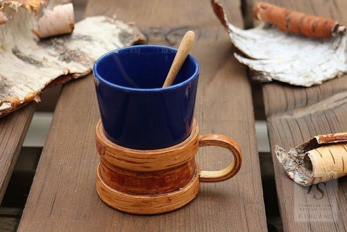 Vintage birch bark mug holder