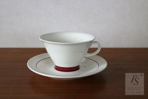 Arabia Harlekin RED HAT teacup and saucer