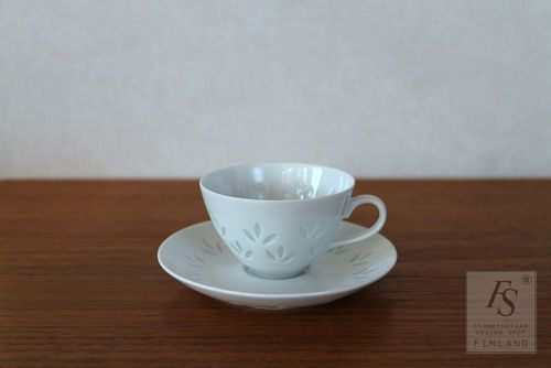 Arabia rice porcelain demitasse cup and saucer