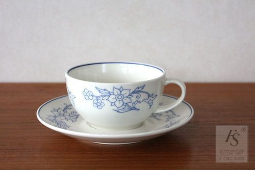Arabia DOMINO blue kitchen, teacup and saucer