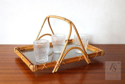 Vintage rattan serving tray with glass top