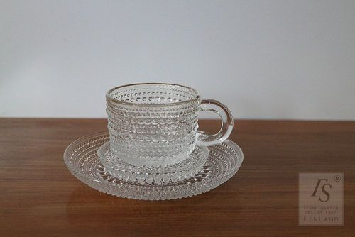 KASTEHELMI coffee cup, saucer and plate