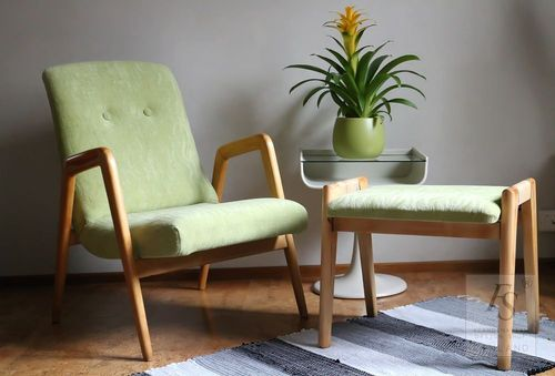 Vintage armchair and stool